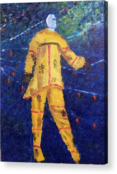 Cultural Art Acrylic Print featuring the painting Mocko Jumbie In Yellow by Diane Elgin