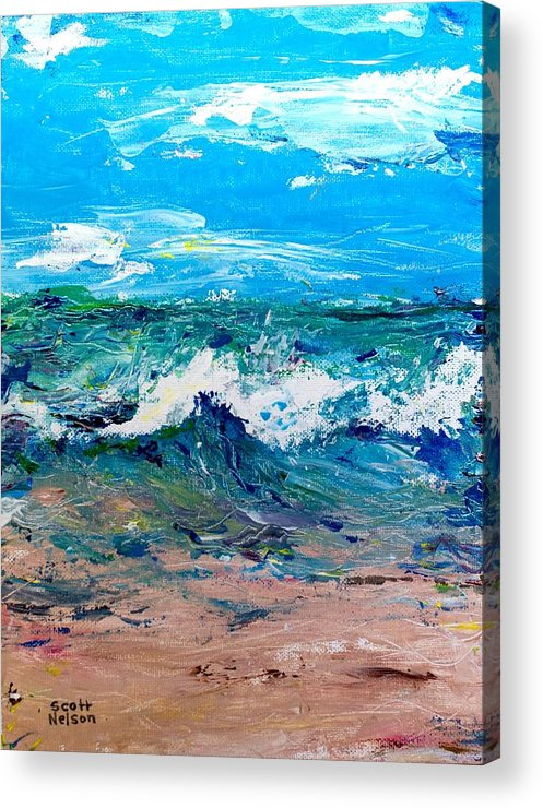 Moody Beach Acrylic Print featuring the painting Moody Beach In A Mood by Scott Nelson