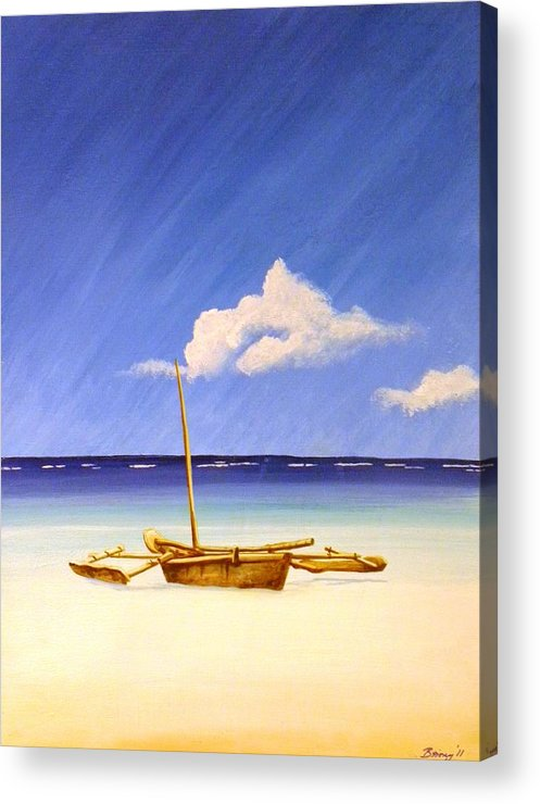 Beach Acrylic Print featuring the painting Ngalawa And Cloud by Anina von Wachtel Diani Beach Art Gallery