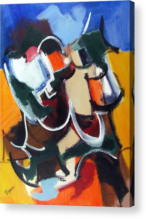 Modern Art Acrylic Print featuring the painting Not Dekooning Or Duchamp But Vintage Pieper by Betty Pieper