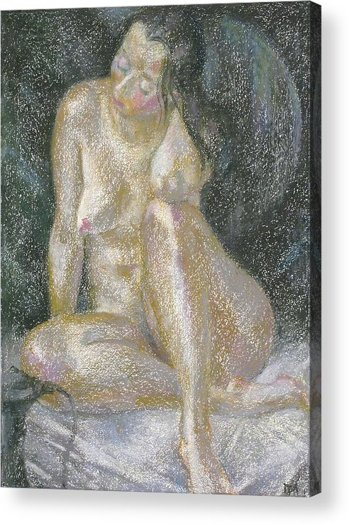 Nude Acrylic Print featuring the painting Nu 38 by Leonid Petrushin
