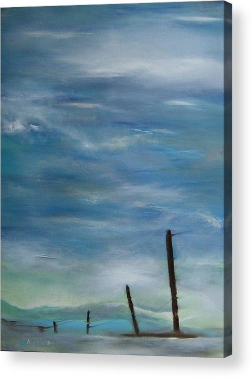 Landscape Acrylic Print featuring the painting Pole Line by Gregory Dallum