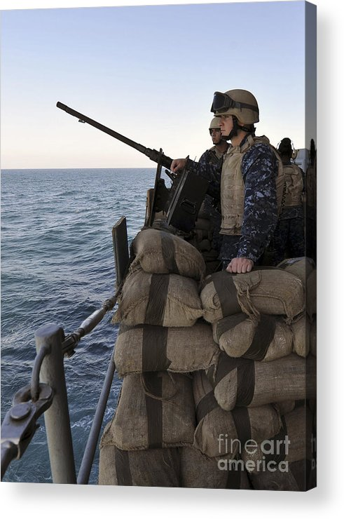 Operation Enduring Freedom Acrylic Print featuring the photograph Sailors Stand Small Caliber Attack Team by Stocktrek Images