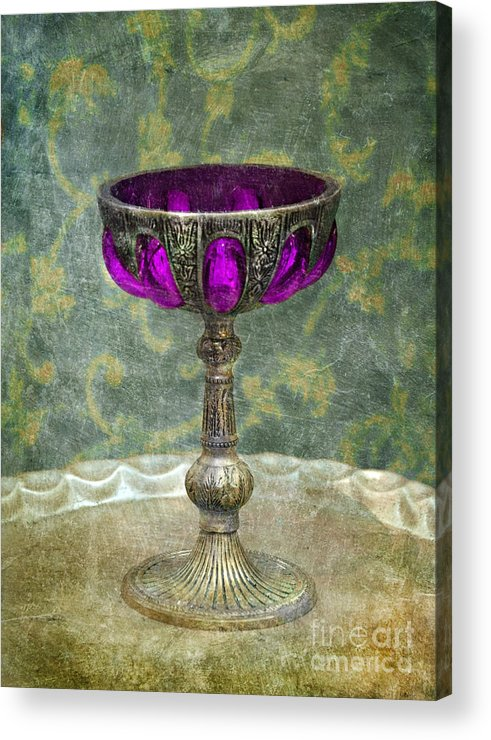 Goblet Acrylic Print featuring the photograph Silver Chalice With Jewels by Jill Battaglia