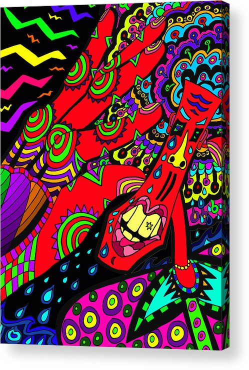 Sore Acrylic Print featuring the painting Somebody Pinch Me by Karen Elzinga