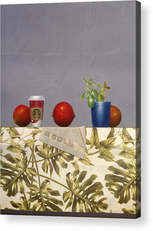 Pomegranate Acrylic Print featuring the painting Symmetry by Hernan Miranda