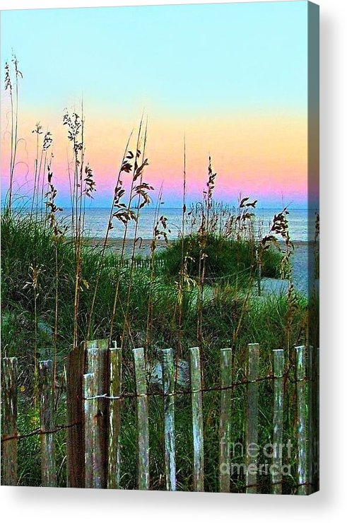 Topsail Island Acrylic Print featuring the photograph Topsail Island Dunes And Sand Fence by Julie Dant
