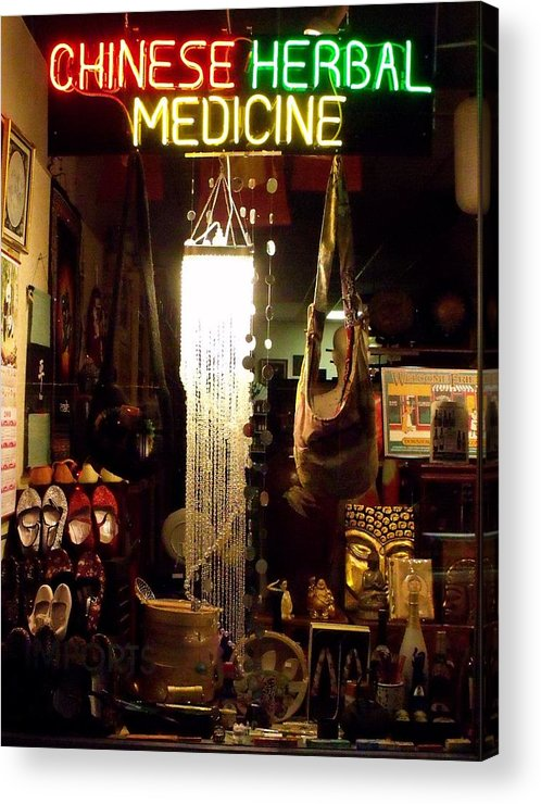 Chinese Herbal Medicine Neon Sign Photo Acrylic Print featuring the photograph Window Shopping The China Store by Cherokee Blue