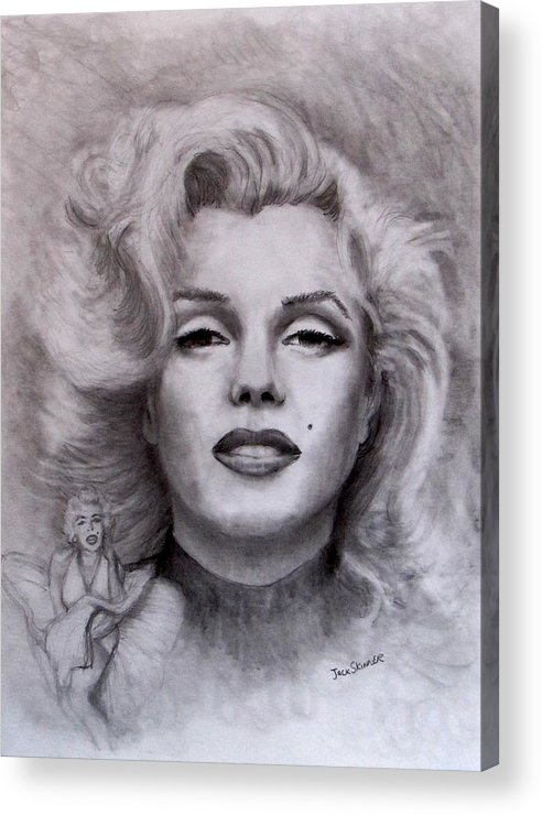 Marilyn Acrylic Print featuring the drawing Marilyn by Jack Skinner