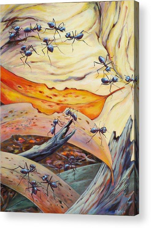 Ekaterina Mortensen Acrylic Print featuring the painting Ants Landscape by Ekaterina Mortensen