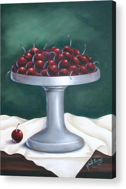 Cherries Acrylic Print featuring the painting Cherries by Ruth Bares