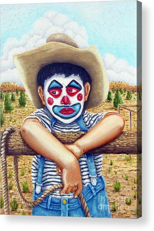 Paris Acrylic Print featuring the painting County Fair Clown by Santiago Chavez