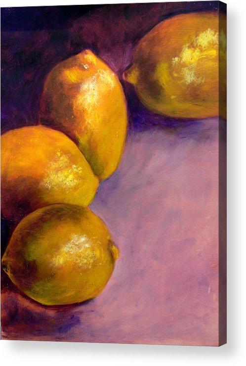 Lemons Acrylic Print featuring the painting Lemons by Deborah Carroll