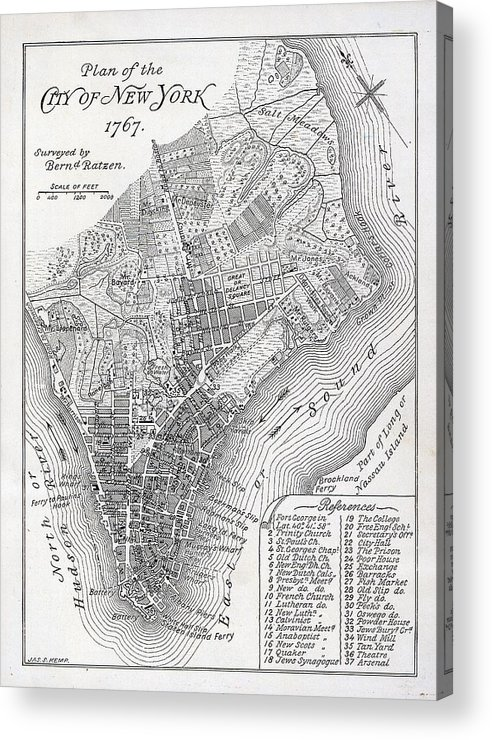 Mapping; Cartography; Territory; Manhattan; Map; Nyc; Usa; United States ; America; American; Metropolis Acrylic Print featuring the painting Plan Of The City Of New York by American School