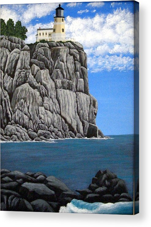 Lighthouse Paintings Acrylic Print featuring the painting Split Rock Lighthouse by Frederic Kohli