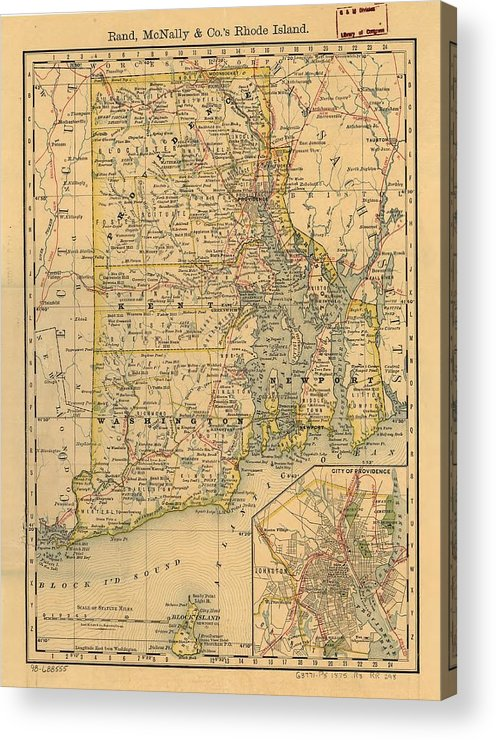 Rhode Island Acrylic Print featuring the drawing Vintage Map Of Rhode Island by CartographyAssociates