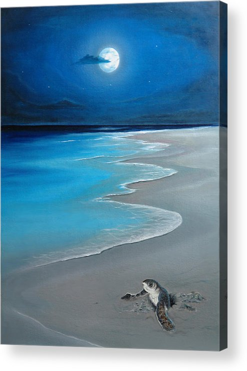 Seascape Art Acrylic Print featuring the painting First Born by Angel Ortiz