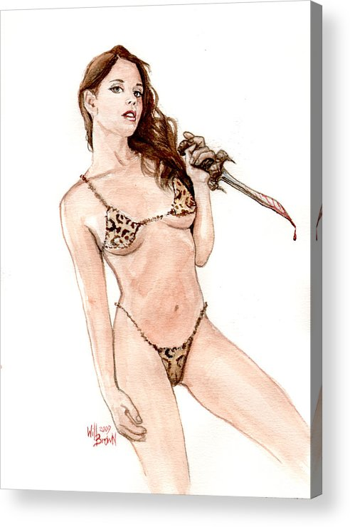 Barbarian Acrylic Print featuring the painting Junglegirl With Dagger by Will Brown