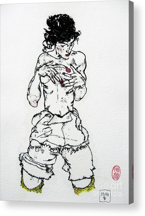 Figurative Acrylic Print featuring the drawing Remembering Schiele by Roberto Prusso