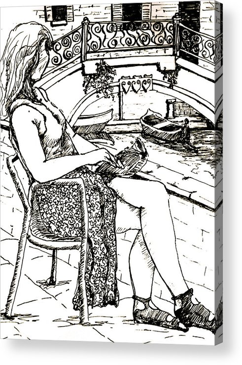 Venice Artwork Acrylic Print featuring the drawing A Book In Venice by Dan Earle