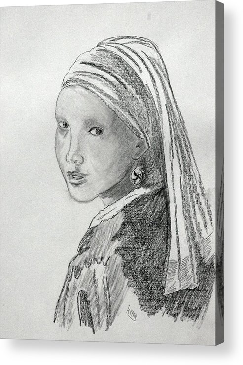 Acrylic Print featuring the drawing A Girl With A Pearl Earring After Vermeer by David Keene