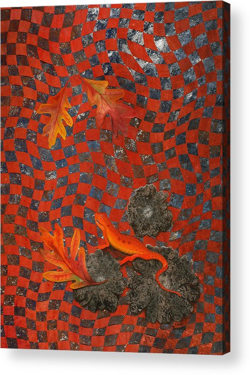 Oak Leave Acrylic Print featuring the painting A Newt Day by Linda L Doucette