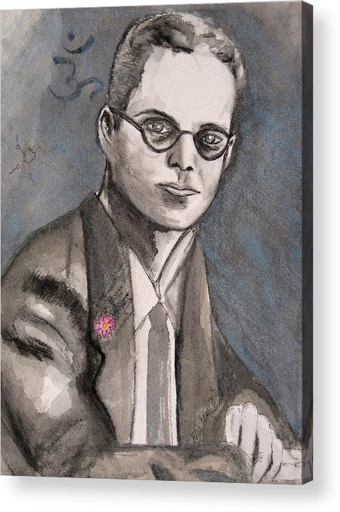 Aldous Brave Darkestartist Huxley New Painting Portrait Watercolor Watercolour World Acrylic Print featuring the painting Aldous Huxley by Darkest Artist