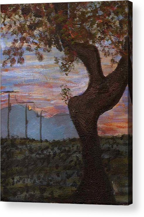 Landscape Acrylic Print featuring the painting Along The Highway To Santa Fe by Rika Maja Duevel