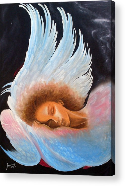 Angel Acrylic Print featuring the painting Angelic Dream by Adrian Olteanu