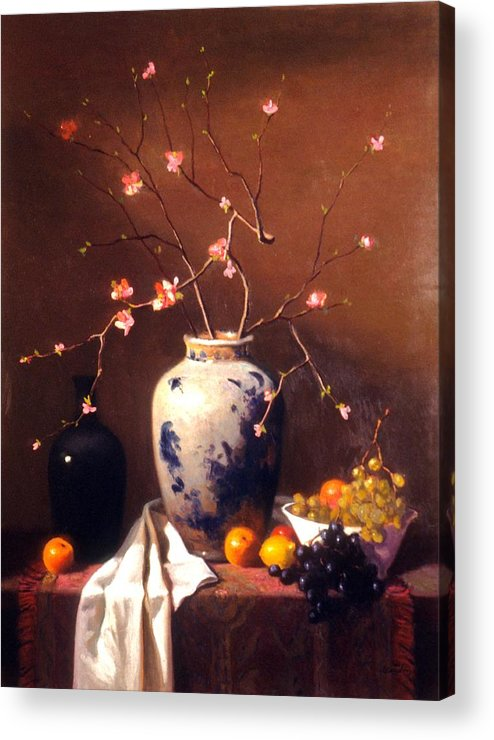 Still Life Acrylic Print featuring the painting Apple Blossoms by David Olander
