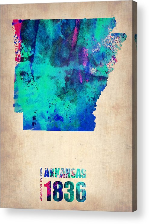 Arkansas Acrylic Print featuring the digital art Arkansas Watercolor Map by Naxart Studio