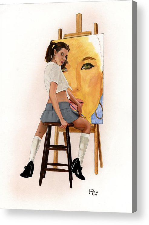 Sexy Acrylic Print featuring the painting Art Student by Kevin Clark