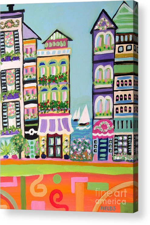Cityscape Acrylic Print featuring the painting Avenue With Sailboats by Karen Fields