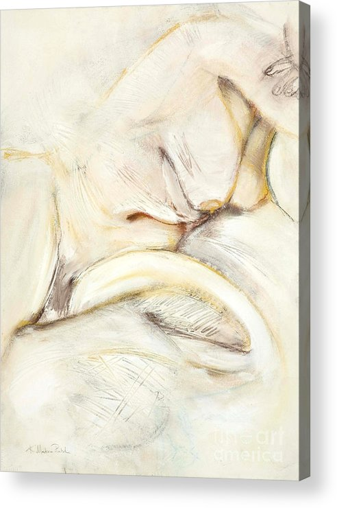 Female Acrylic Print featuring the drawing Award Winning Abstract Nude by Kerryn Madsen-Pietsch