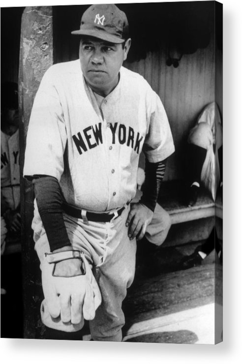 1930s Candid Acrylic Print featuring the photograph Babe Ruth In The New York Yankees by Everett