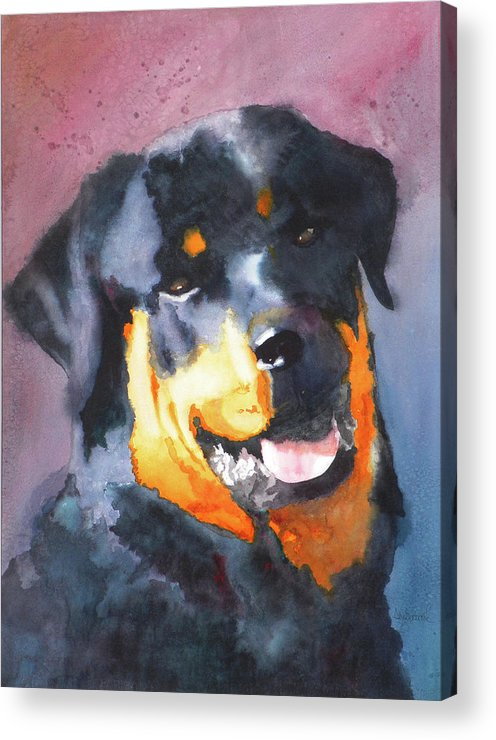 Rottweiler Acrylic Print featuring the painting Big Bob by Ally Benbrook