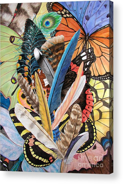 Feathers Acrylic Print featuring the painting Bits Of Flight by Lucy Arnold