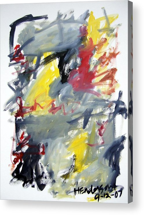 Abstract Acrylic Print featuring the painting Black And Yellow Abstract by Michael Henderson