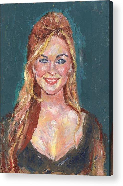 Portrait Acrylic Print featuring the painting Black Satin by Horacio Prada