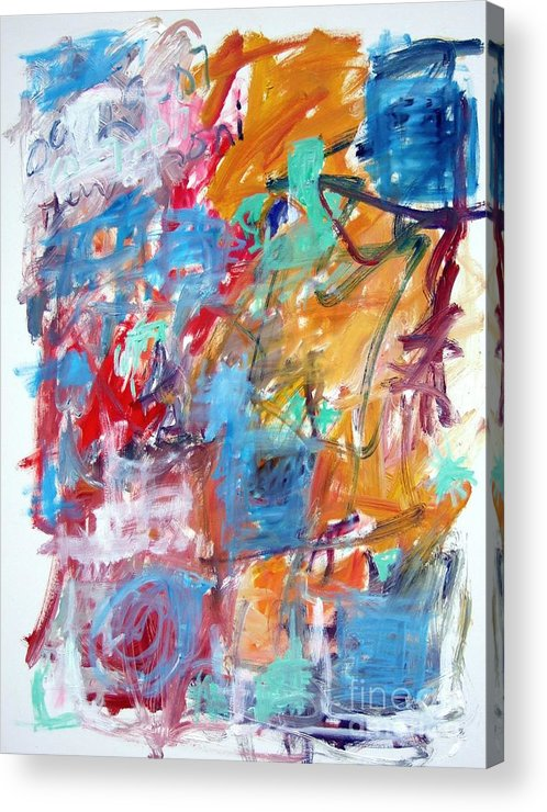 Abstract Acrylic Print featuring the painting Blue And Orange Abstract by Michael Henderson