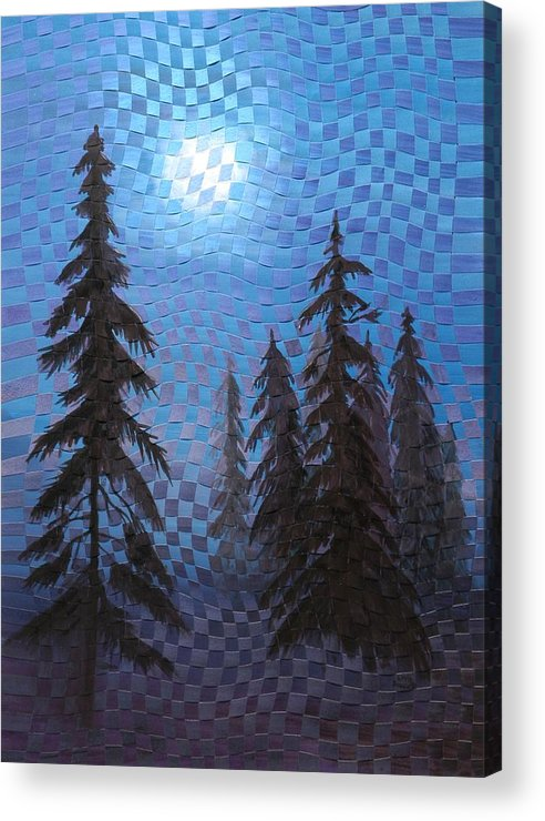 Landscape Acrylic Print featuring the painting Blue Moon by Linda L Doucette