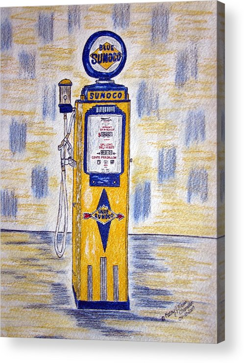 Blue Sunoco Acrylic Print featuring the painting Blue Sunoco Gas Pump by Kathy Marrs Chandler