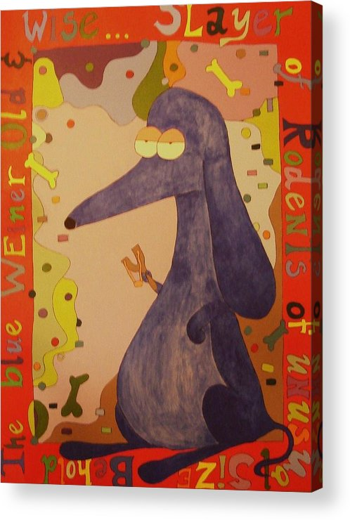 Dachshund Acrylic Print featuring the painting Blue Weiner by Kimberly Hill