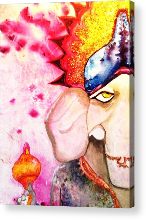 Elephant Acrylic Print featuring the painting Brilliant Ganesh by Meshal Hardie