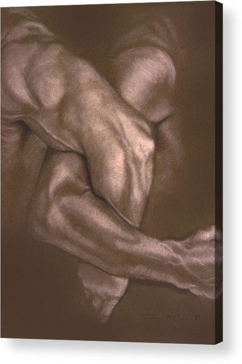 Men Acrylic Print featuring the painting Brown Series Vi by John Clum
