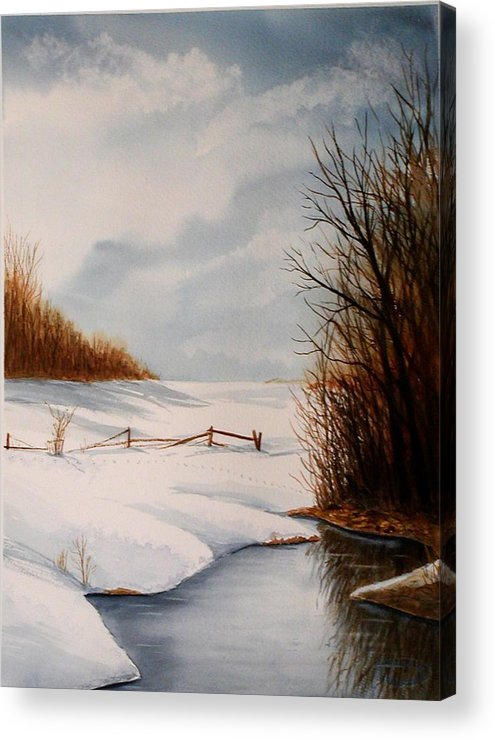 Winter Acrylic Print featuring the painting Bunny Trail by Sharon Steinhaus