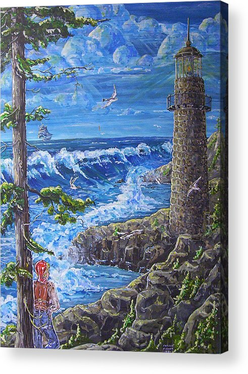 Seascape Acrylic Print featuring the painting By The Sea by Phyllis Mae Richardson Fisher