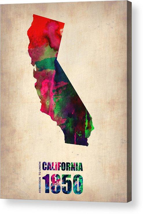 California Acrylic Print featuring the digital art California Watercolor Map by Naxart Studio