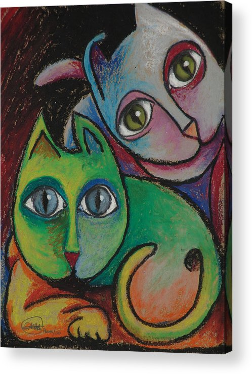 Cats Sacha Circulism Acrylic Print featuring the drawing Cats I 2000 by S A C H A - Circulism Technique