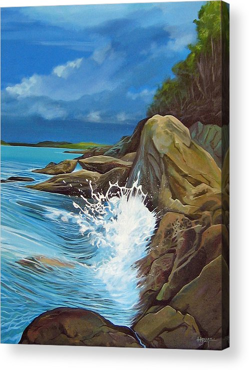 Ocean Acrylic Print featuring the painting Cerulean by Hunter Jay